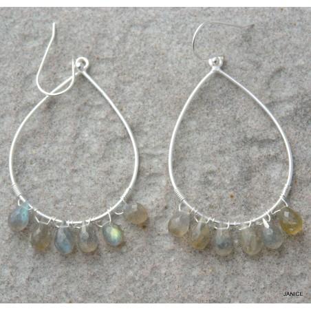 Boucles d'oreilles en argent massif et pierre de lune