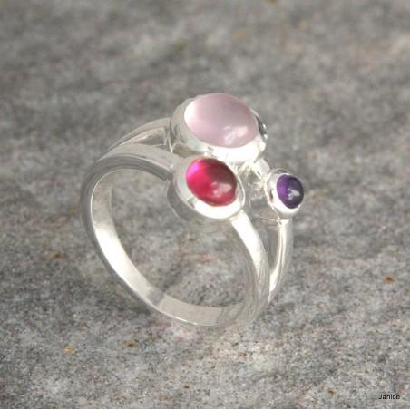 Bague en argent, quartz rose, tourmaline rose et petite améthyste